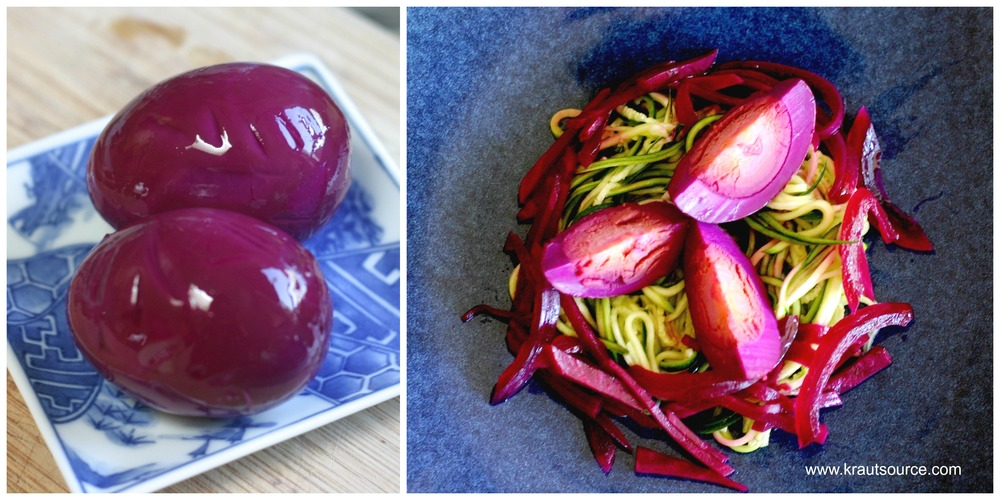 Right, Eggs that were fermented with beets, onion, & rosemary. Left, Eggs & fermented beets + onions over zucchini noodles.