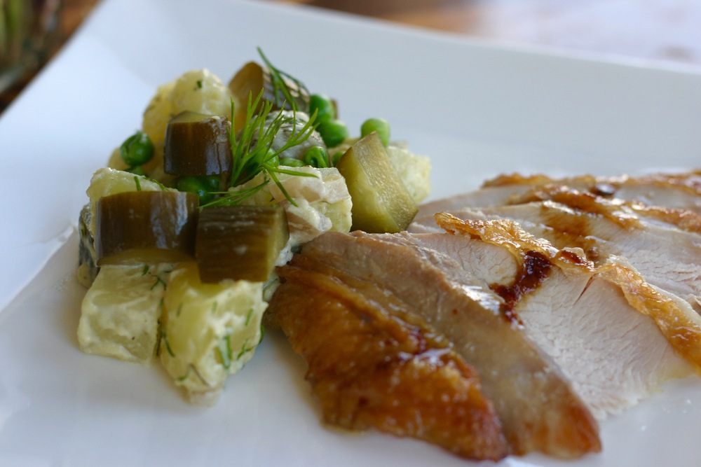 Oven Roasted Turkey Breast served with Real Pickles Potato Salad tossed in Homemade Cultured Mayo