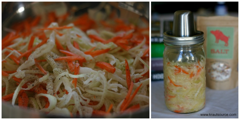 Omnivore Salt sprinkled on cabbage, fennel, and carrot mixture.