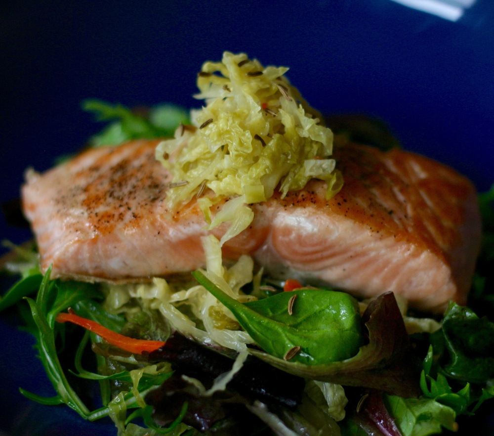 Seared Salmon with Sauerkraut & Greens (see recipe at left)
