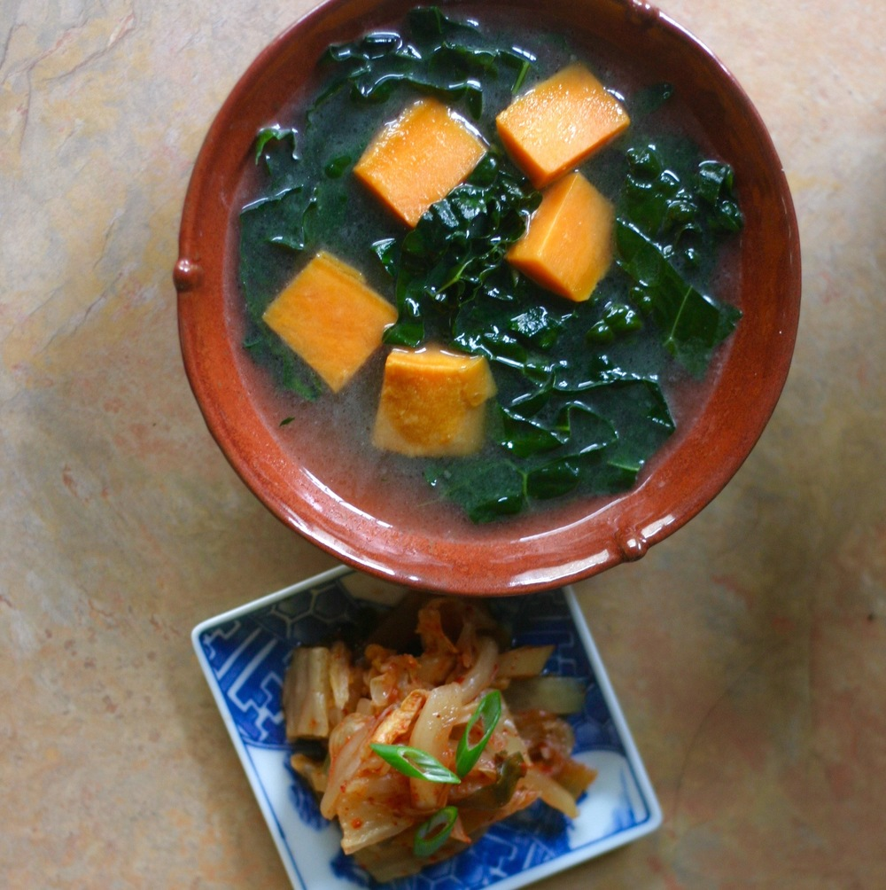 Kale & Sweet Potato Soup with serving of Kimchi (recipe at left)