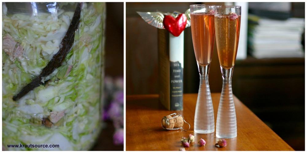 Rose & Vanilla Kraut (right); Valentine's Sparkling Cocktail (left)