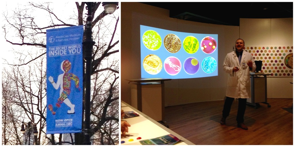 Banner outside the American Museum of Natural History (left); Leonid S. giving a wonderful interactive presentation on the microbiota.