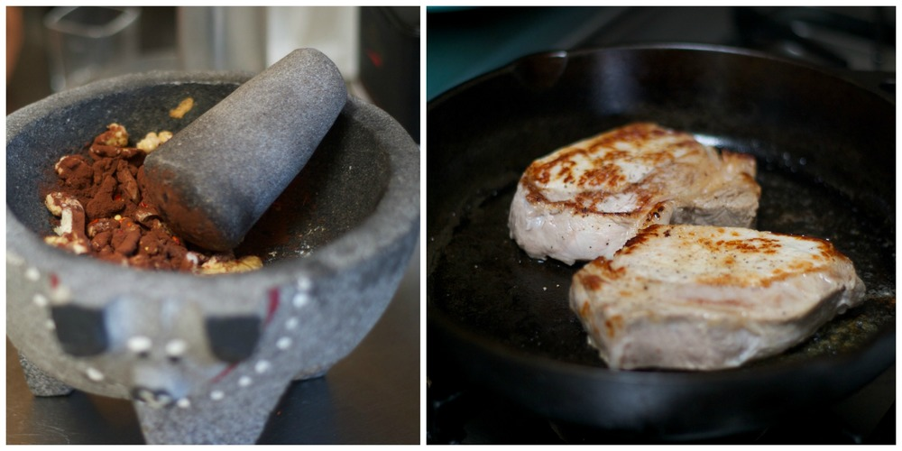 Make a paste with the walnuts, cacao powder, garlic, etc.                                       Sear the chops in a hot cast-iron pan...