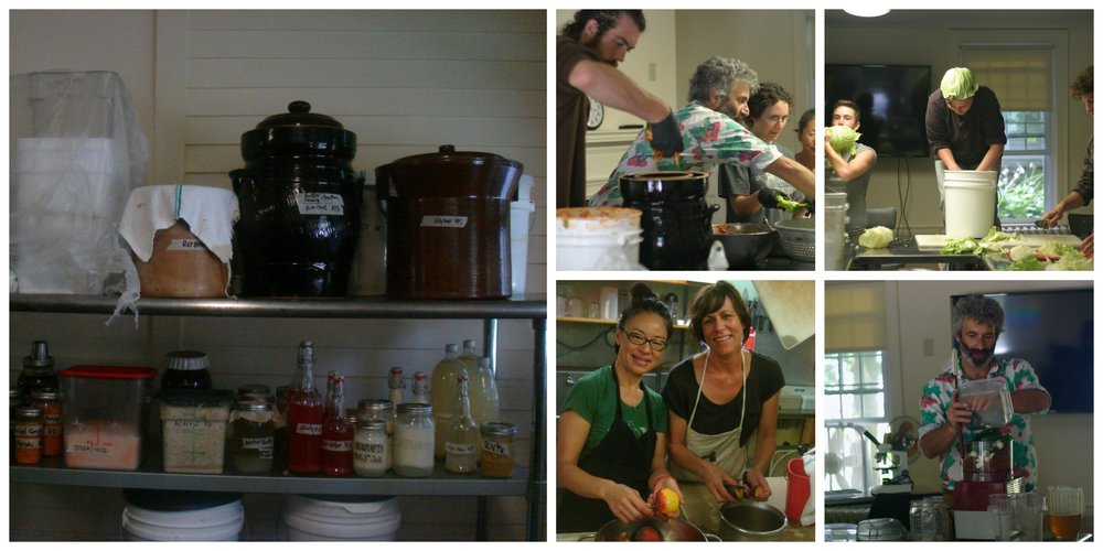 An assortment of items fermenting.  Top right: Sandor and students making kimchi, Top left: Sauerkrauting                                                               Bottom left: Karen and Stacey making chutney, Bottom right: Sandor making chili