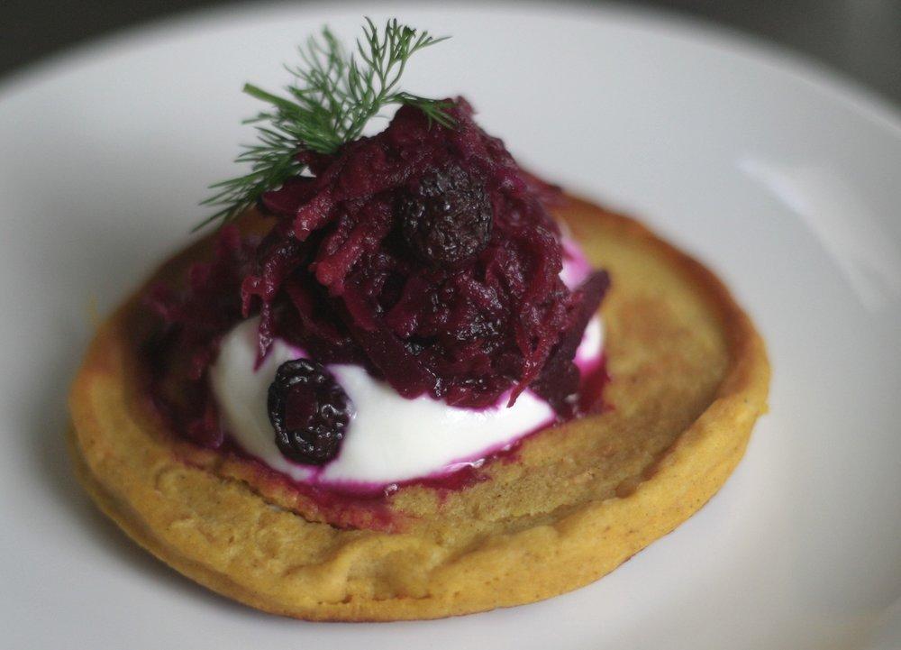 Fermented Red Beets with Apple & Raisins; served over Greek Yogurt and Savory Pumpkin Pancake