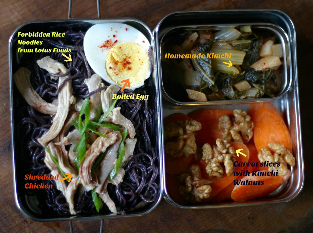 Optimal Lunch packed in ECOlunchbox. Forbidden Rice Noodles (Ramen) from Lotus Foods.