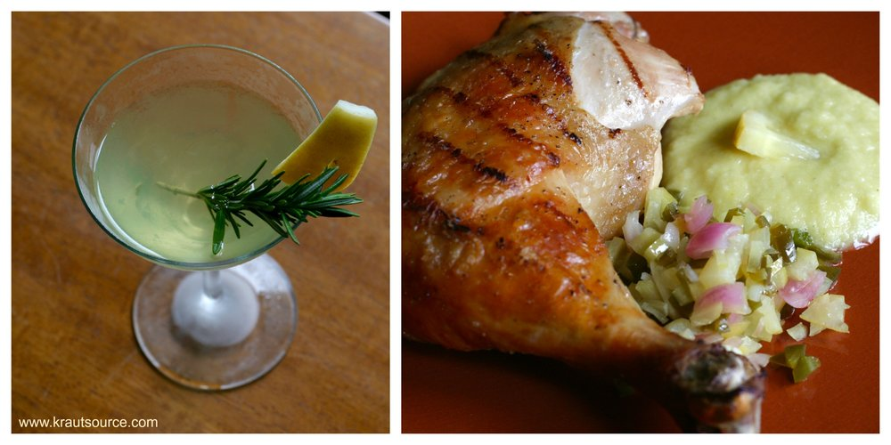 Lemoncello & Rosemary Cultured Cocktail                          Grilled Chicken with Fermented Salsa                                                                                                                              & Lemony Mayo (Eggless)