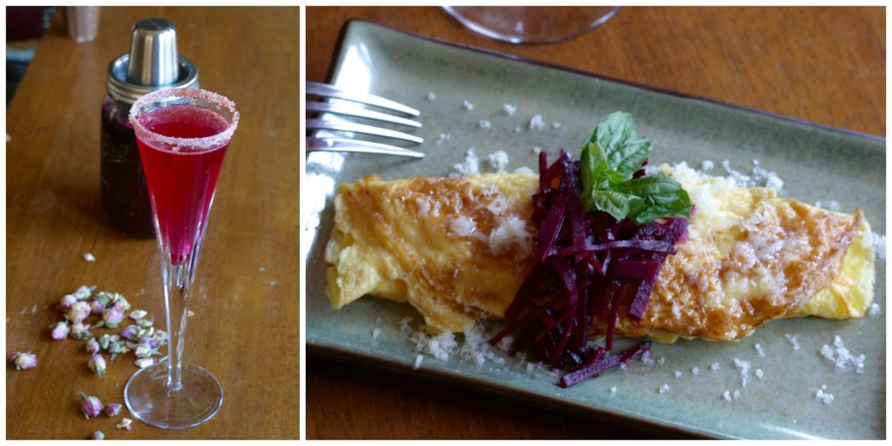 Rose & Beet Cultured Mimosa served with Manchego Omelette topped with Beet & Apple Ferment