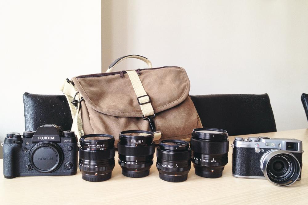 My entire camera setup in August 2014: Fujifilm X-T1, 14mm f/2.8, 23mm f/1.4, 35mm f/1.4, 56mm f/1.2 and X100S – all of which fit inside a Domke F-803.