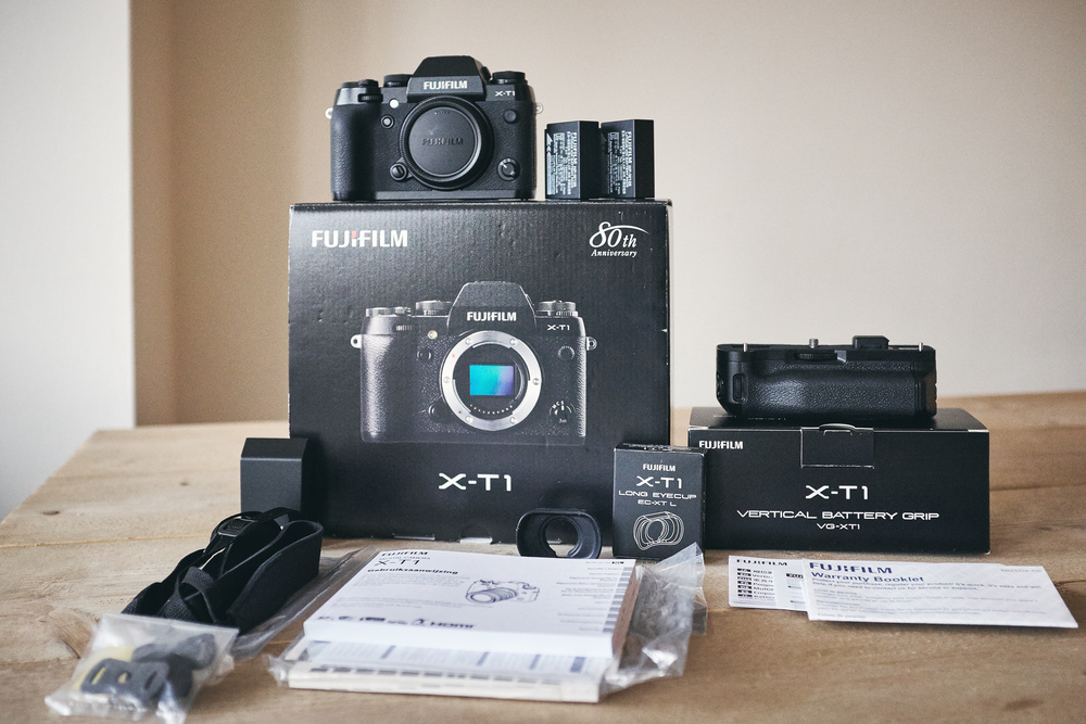 Product shot of my Fujifilm X-T1 for sale.