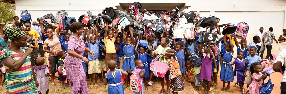 The children in the village are ready to step into the future with their new school supplies.