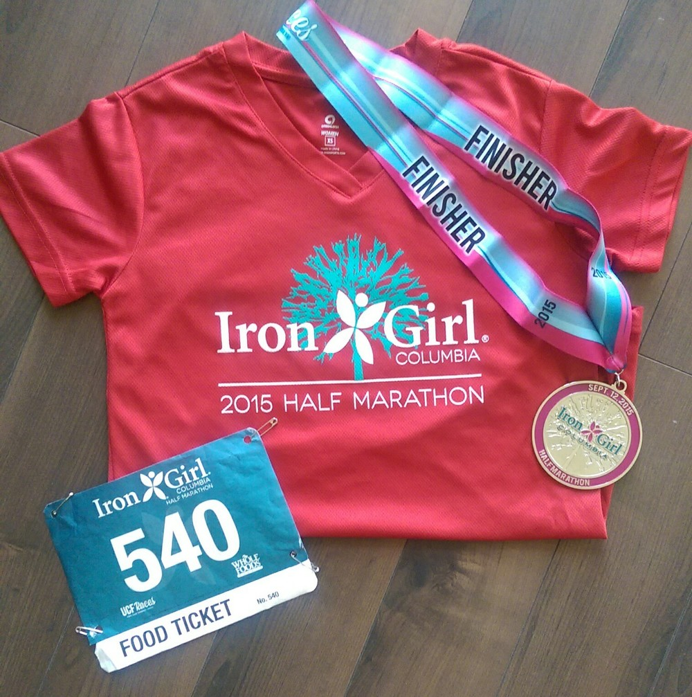 Finisher medal and performance shirt.