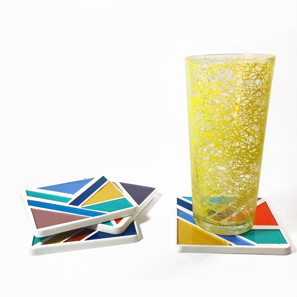 DEBBIE BEAN STAINED GLASS MOSAIC COASTERS
