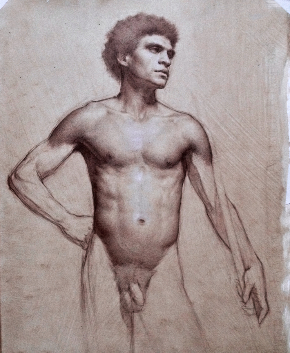 Pedro,  colored pencil and white chalk on paper