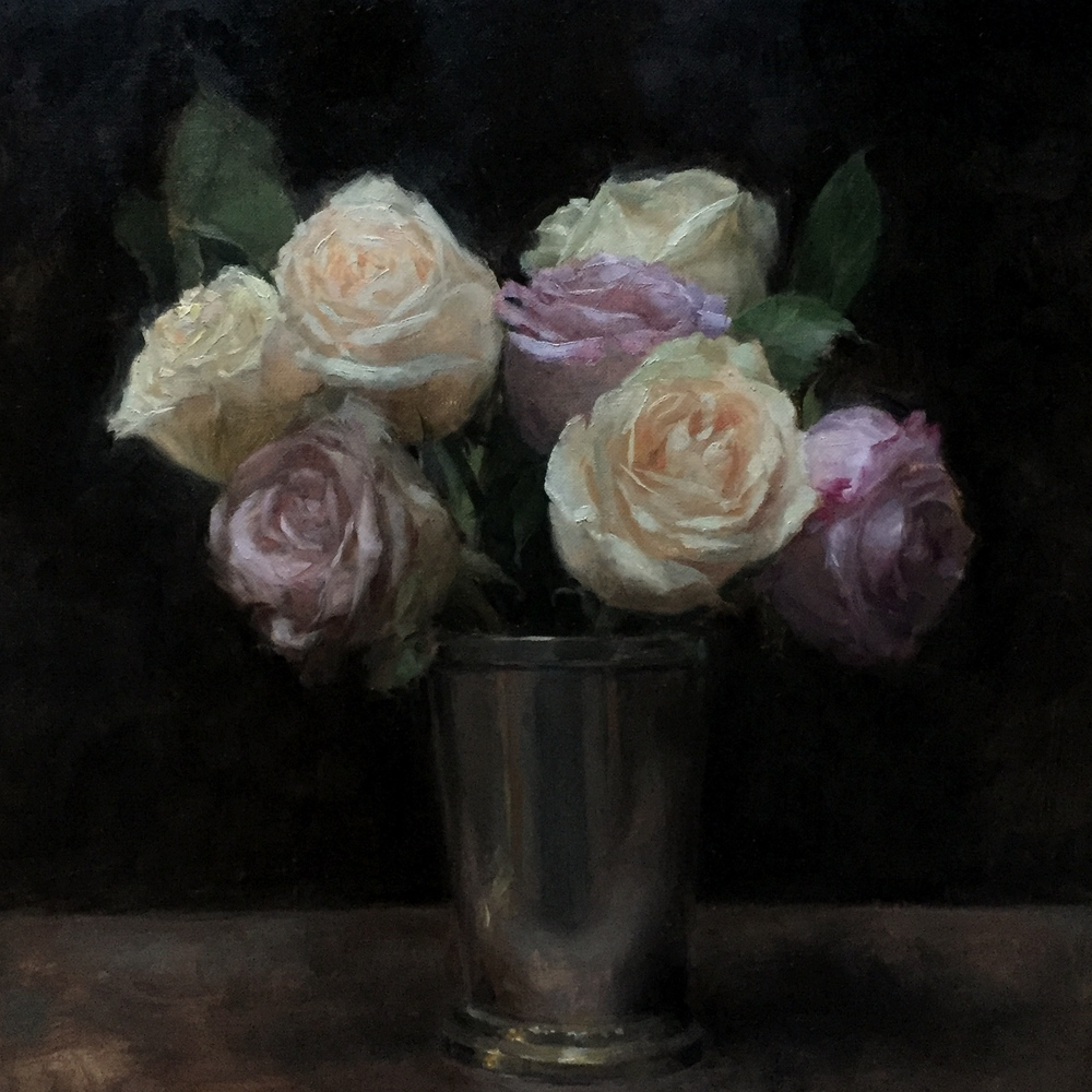 Roses in a julep cup,  oil on canvas