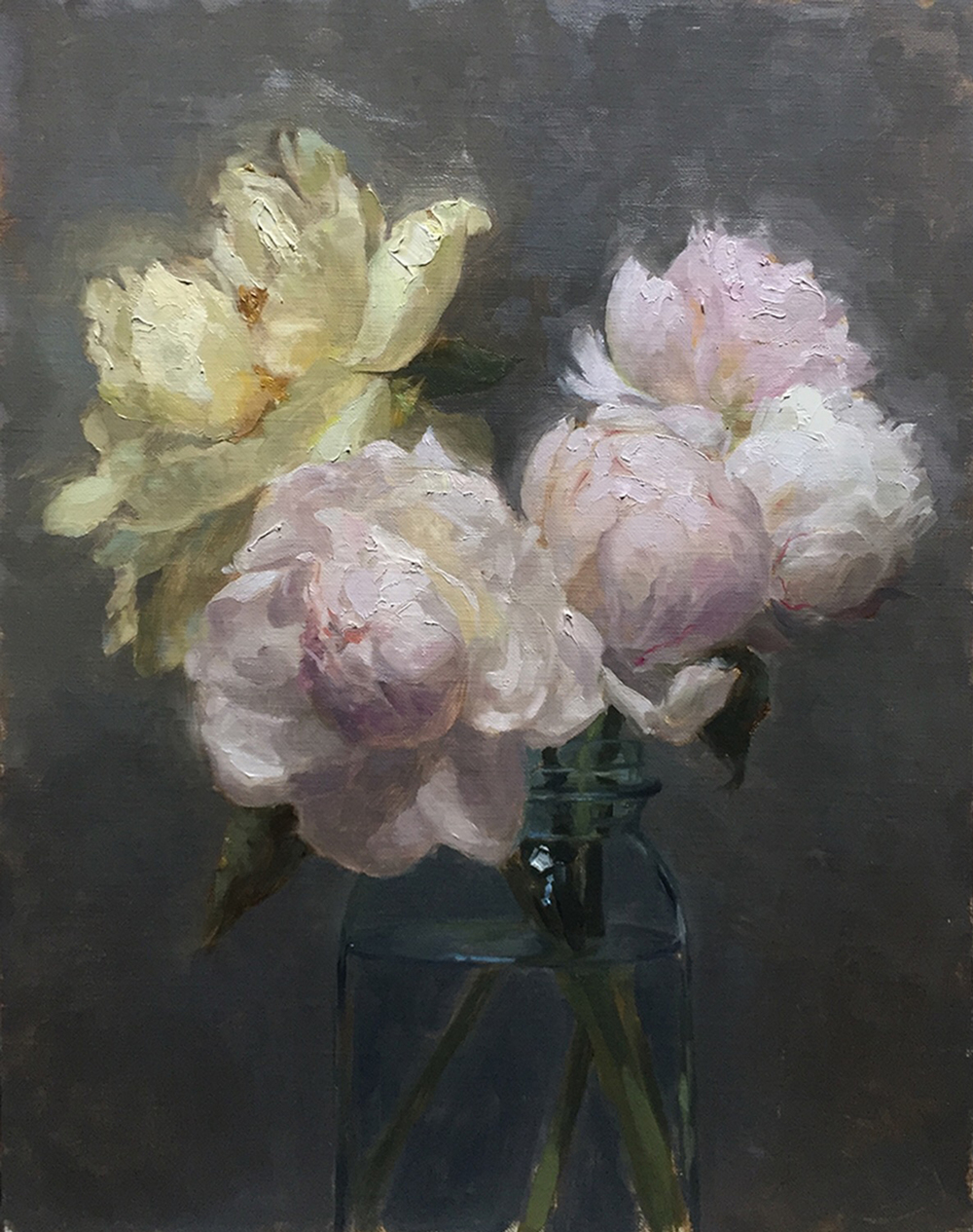 Peonies in a blue Ball, oil on canvas on board
