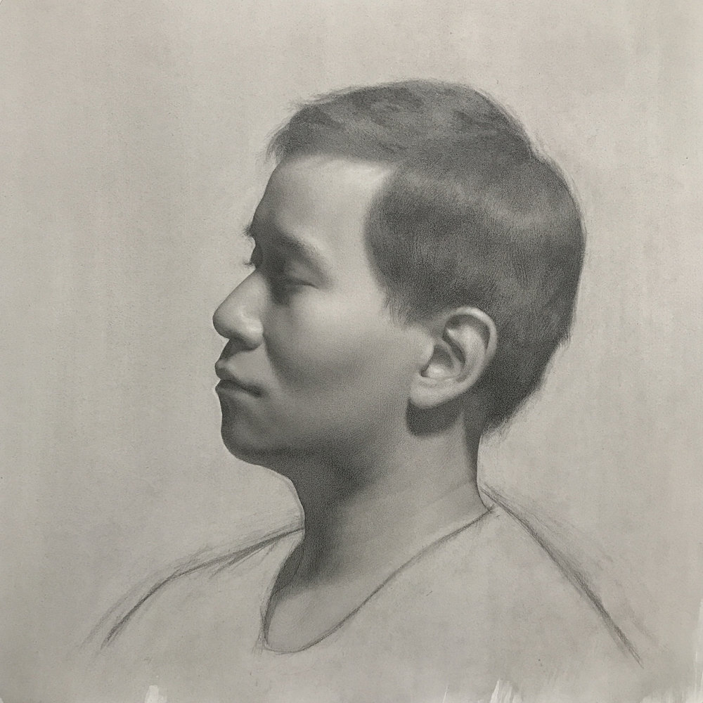 Self portrait in profile,  graphite on paper