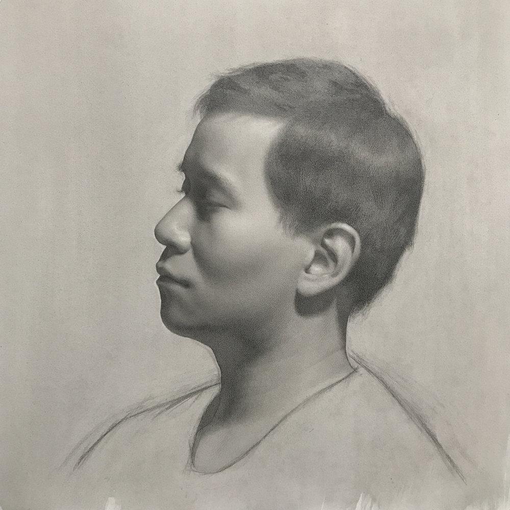 Self portrait in profile, graphite on paper
