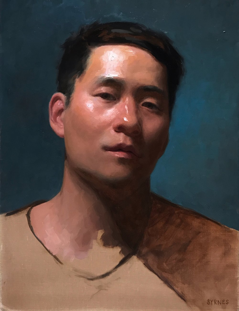 Self portrait at 32,  oil on canvas