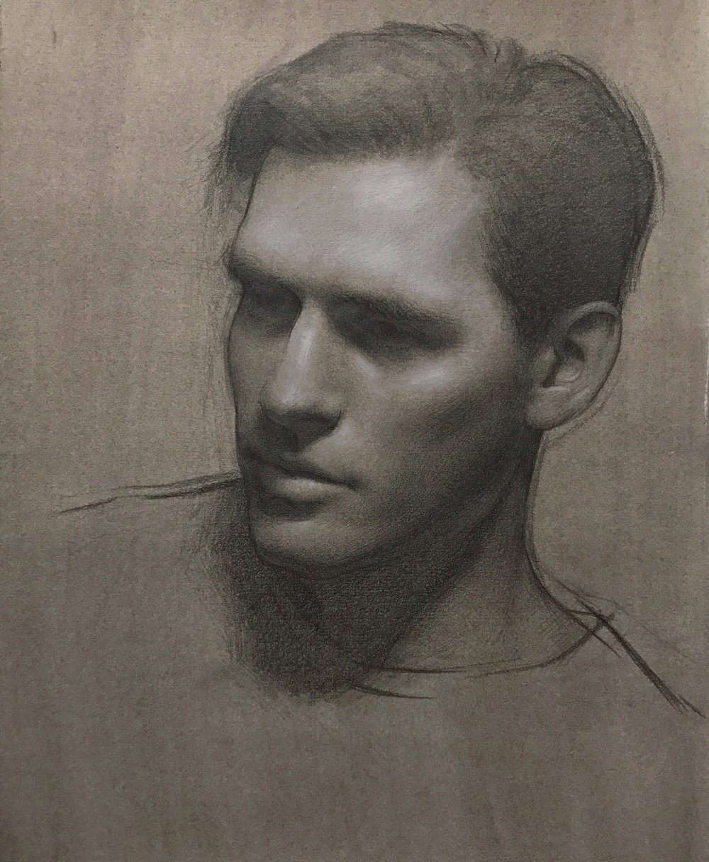 Christopher,  graphite and white chalk on toned paper