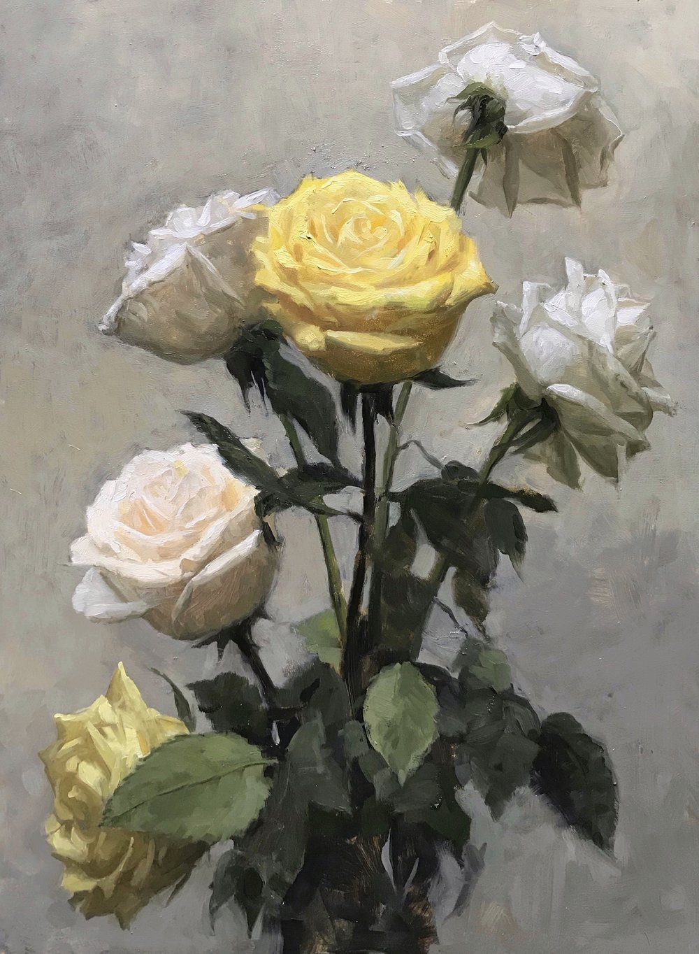 Six roses,  oil on panel