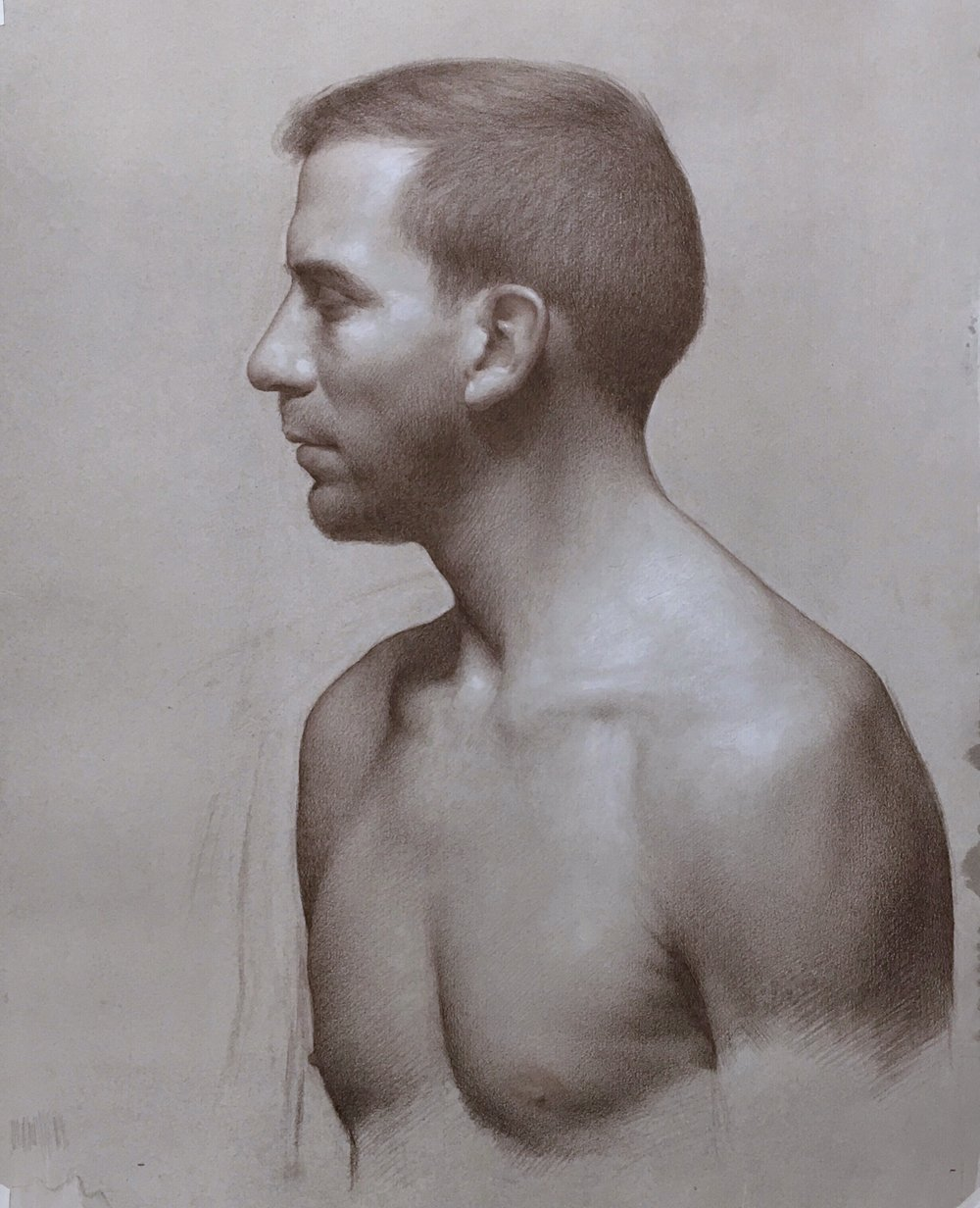 Olivier in profile,  brown pencil and white chalk on toned paper