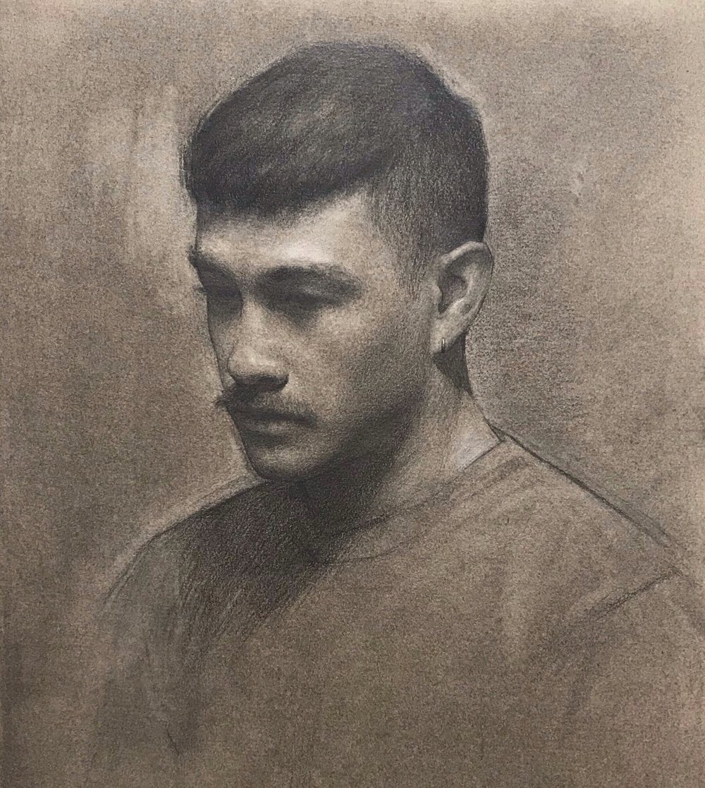 Nic,  charcoal, graphite and white chalk on toned paper