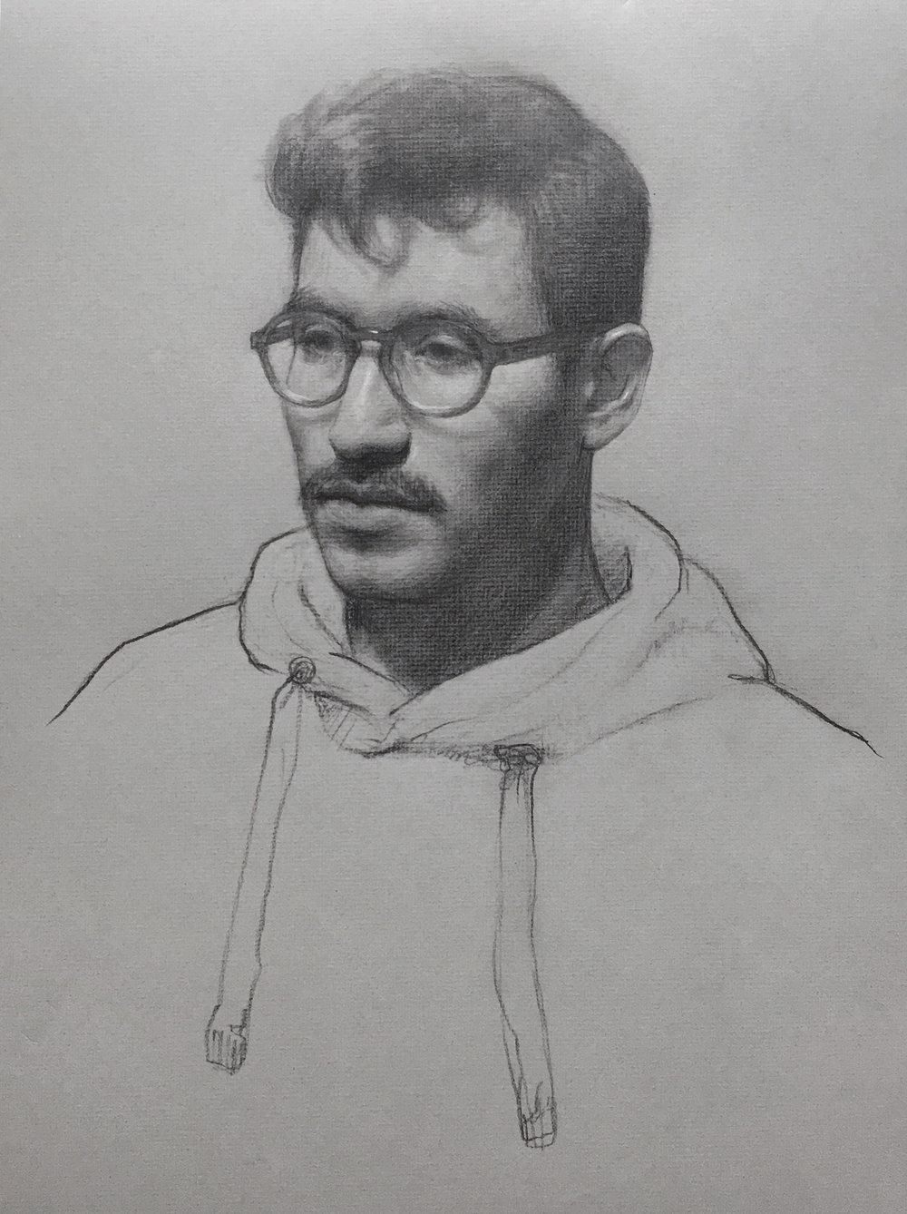 Diego VI,  graphite and white chalk on toned paper