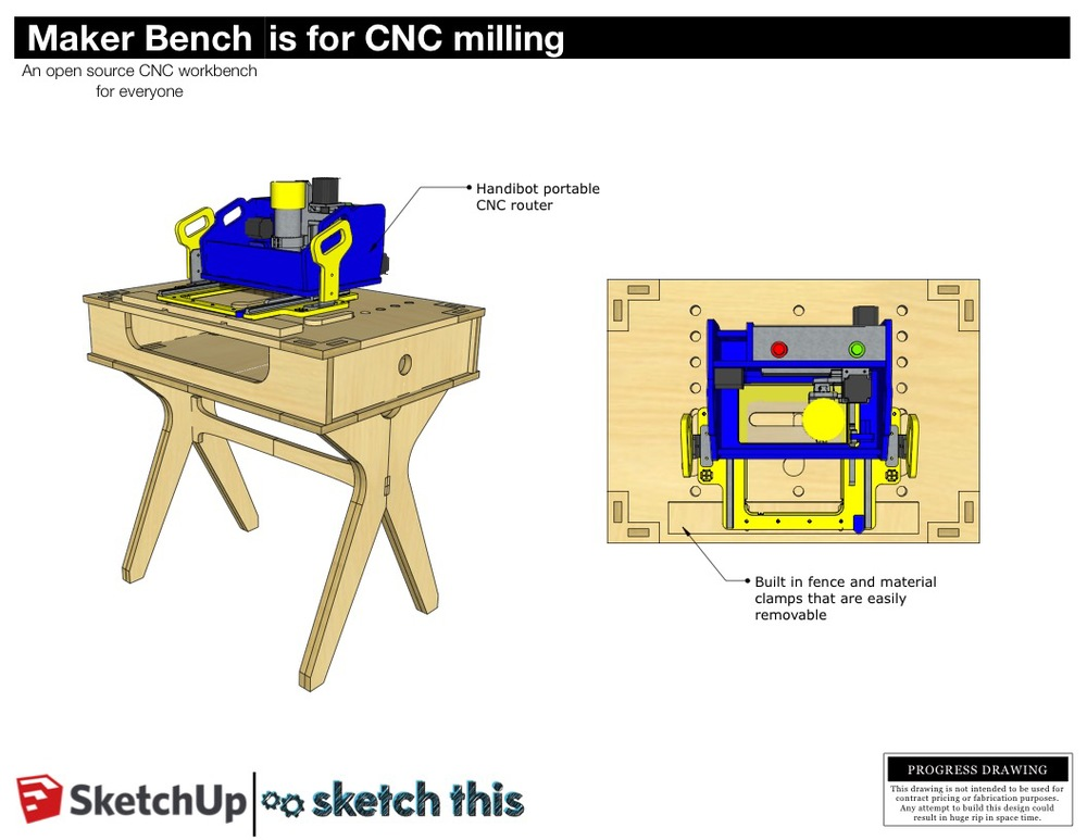 This bench is a material hold down station for the ShopBot Handibot portable CNC machine. It features a built in removable material fence, and wooden toggle clamps to hold your piece in place.