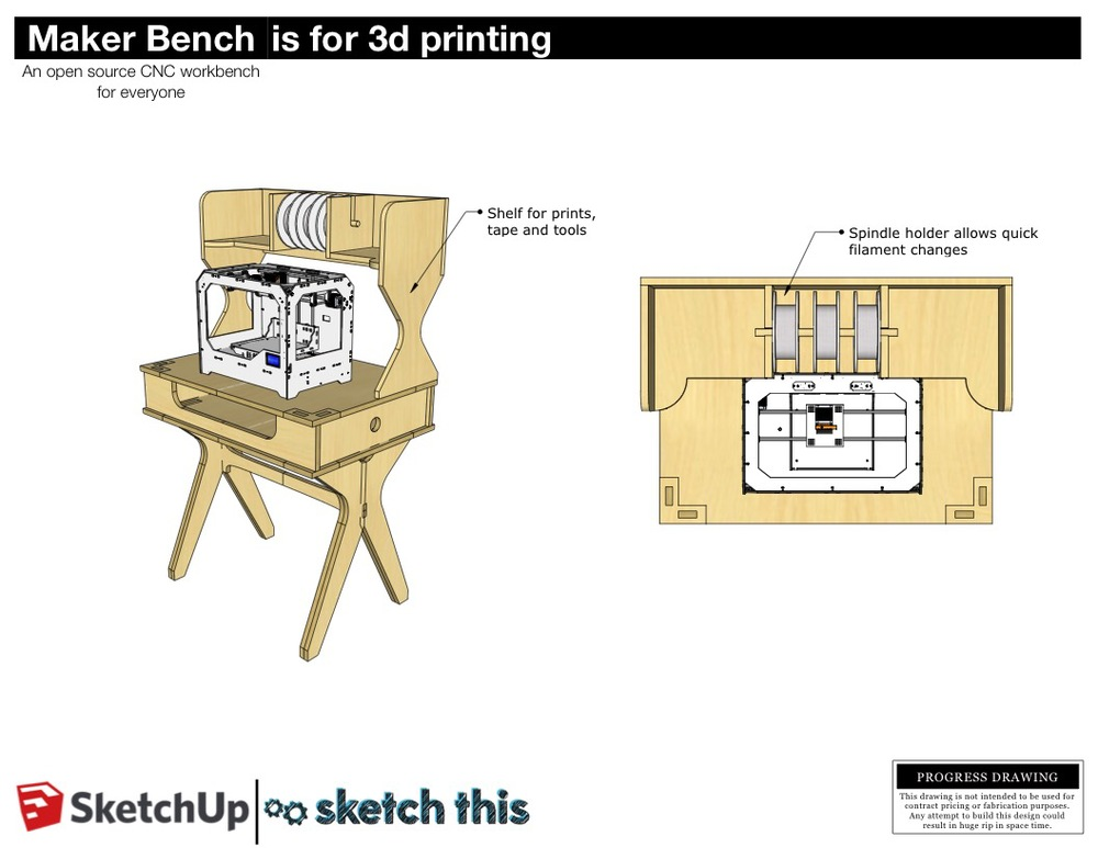 This 3D printing take on the bench has a shelf on it that stores your filament spools. The spools can be fed right into the machine from the shelf so there's no reaching around behind the machine anymore. A simple wooden dowel holds them in place and makes the spools easily removable. The shelf could be fastened on with bolts so that it's easy to install and remove.