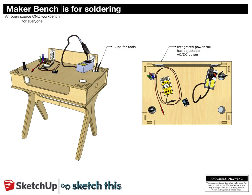 The soldering station features and adjustable power rail built in. This is great for all of your electronics hacking projects. An anti static mat could be applied to for working on really sensitive stuff.