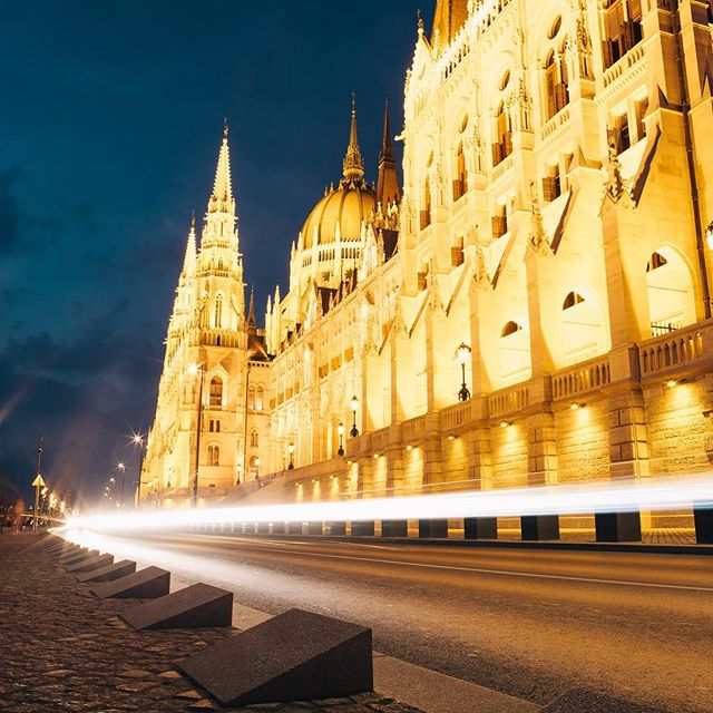 They look like light trails, but this is actually a photo of my dignity disappearing at warp speed in Budapest.