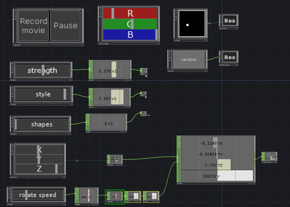 This shows an inside look at the controller network.  Creating buttons and sliders for specific uses.