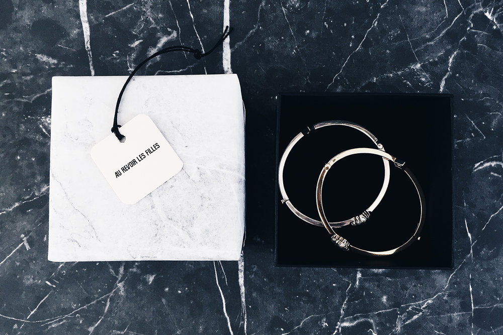 marble white black monochrome au revoir les filles swingtags silver bangles complimentary gift wrapping