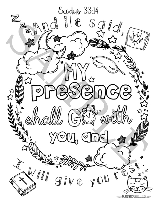 Coloring Book Bible Verses : Bible verse coloring book page exodus 33:14 u2014 blessed bibles