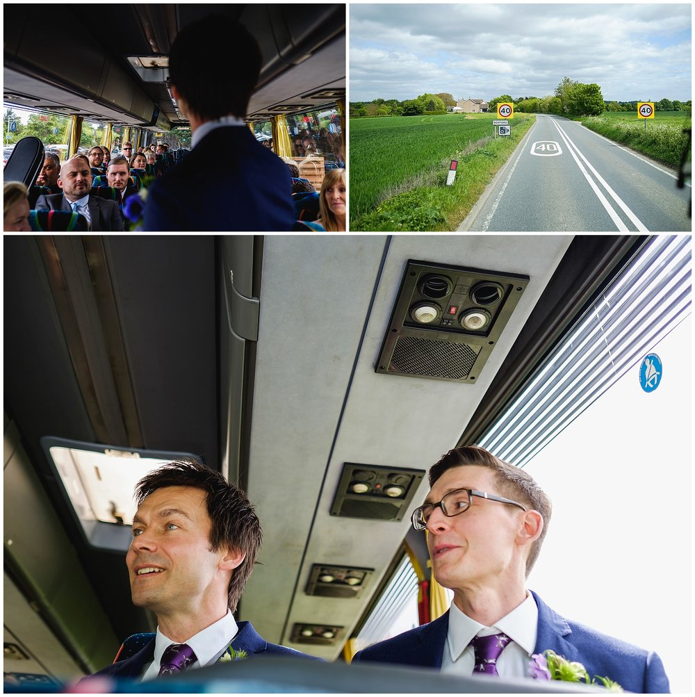 Wedding party on coach