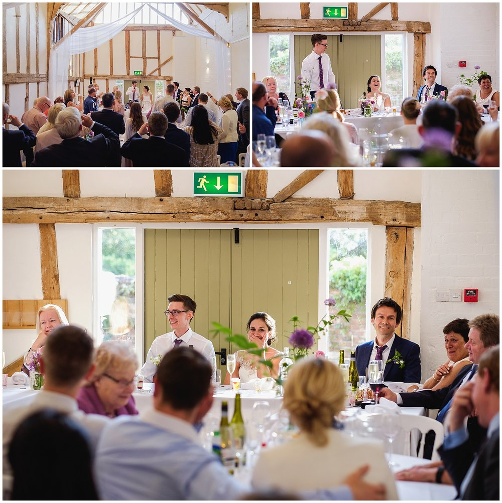 Wedding speeches at Barn wedding
