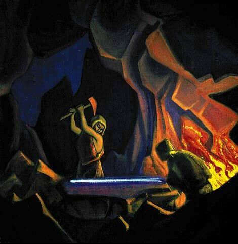 Nicholas Roerich, Forging the Sword (Nibelung), 1941.