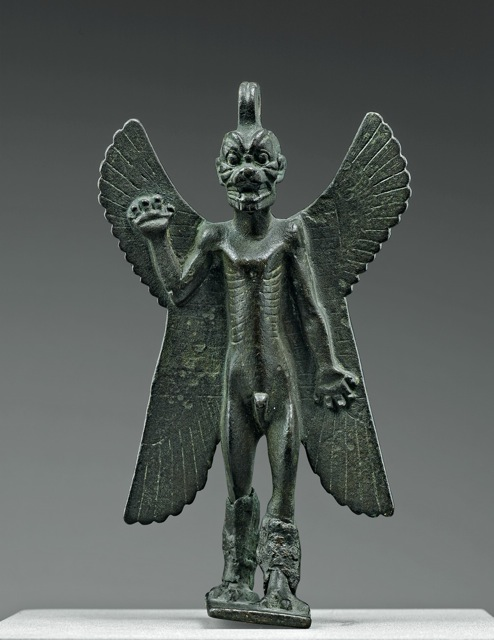 Pazuzu, king of wind demons. Bronze statuette, Mesopotamia (8th–7th century BCE). Musée du Louvre, Paris, on loan to the Metropolitan Museum of Art, New York City.