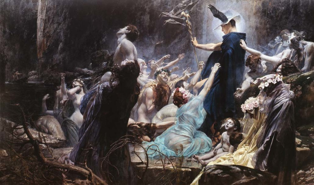 Adolf Hirémy-Hirschl,   The Souls on the Banks of Acheron   (1898). Österreichische Galerie Belvedere.