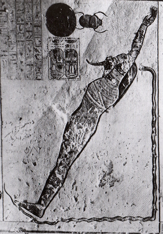 Kamuef ('the bull of his mother'), Tomb of Ramses IX.  In this image, Schwaller saw the Pythagorean principle of tri-unity. In Egyptian theology, ka ('bull', 'spirit') indicates the active masculine force in the triad; mut, the 'mother', represents the feminine receptive force; while the child or son represents the product. The paradox that binds the three aspects of this lineage into a triangular unity lies in the fact that the son, by recapitulating (indeed reincarnating) his father, becomes thereby the bull (spirit and inseminator) of his mother. In short, he is the father of himself. Rather than being a simple 'product', he exists both in a primary state, 'before' the separation or differentiation into gendered polarity (male-female) and in an ultimate state, 'after' the two poles have been differentiated and then recombined (the alchemical conjunctio or cohabation). Reproduced from R. A. Schwaller de Lubicz, The Temple of Man: Apet of the South at Luxor. Rochester, Vermont: Inner Traditions International, 1999.
