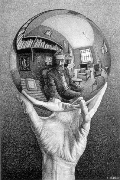 M. C. Escher,  Self Portrait in Spherical Mirror , 1935.