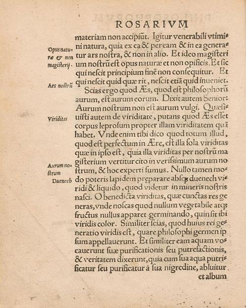 """Rosarium Philosophorum, Frankfurt am Main,1550. """" Aurum nostrum non est aurum vulgi""""."""