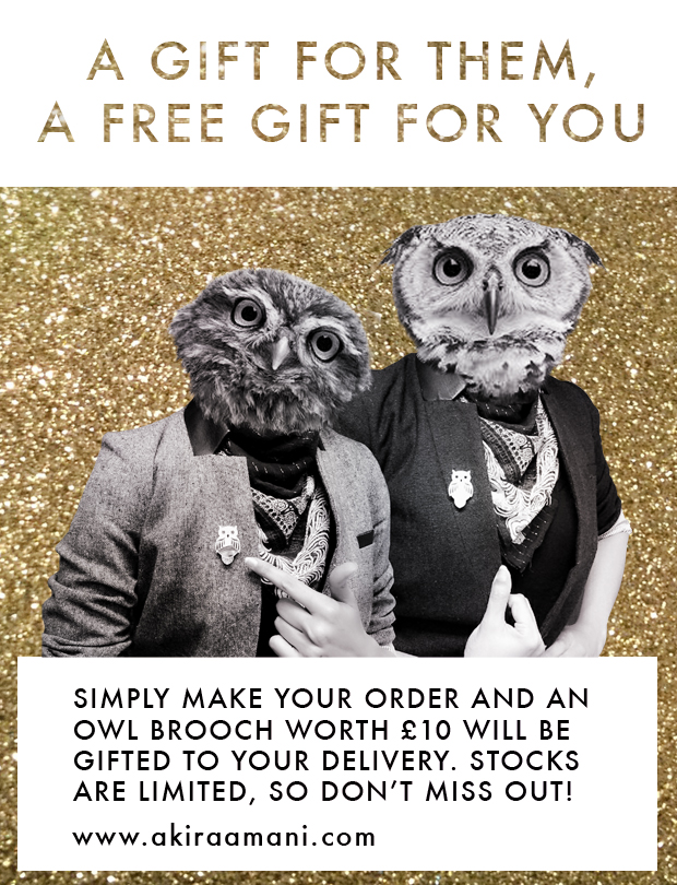 *Offer ends 18th December 2015 whilst stocks last. Open to both UK and international customers. Orders will automatically have the hand made owl brooch added to the parcel before dispatch, you do not need to add this to your shopping cart. Happy Shopping :) www.akiraamani.com