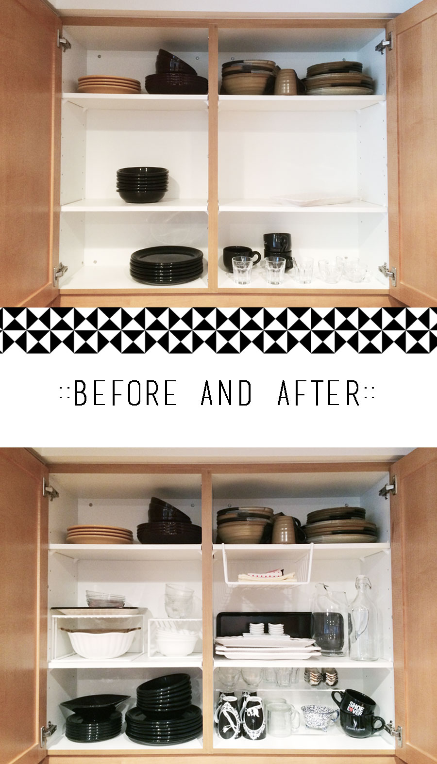 Organizing Before And After: Kitchen Cabinets Organization