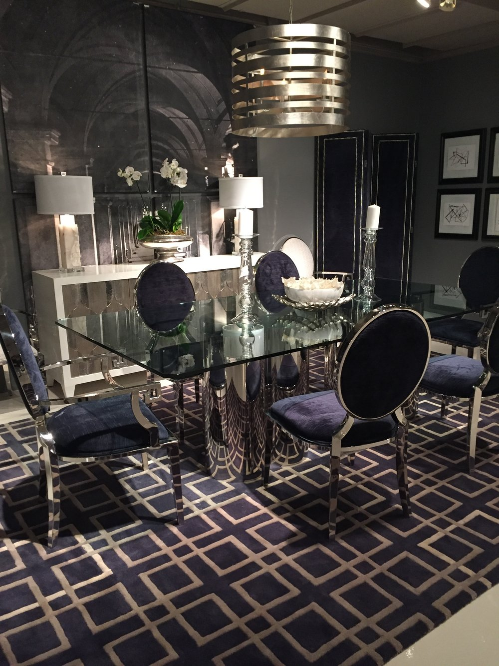 Fabulous dining room by  Bernhardt . Loving the chrome and velvet chairs!