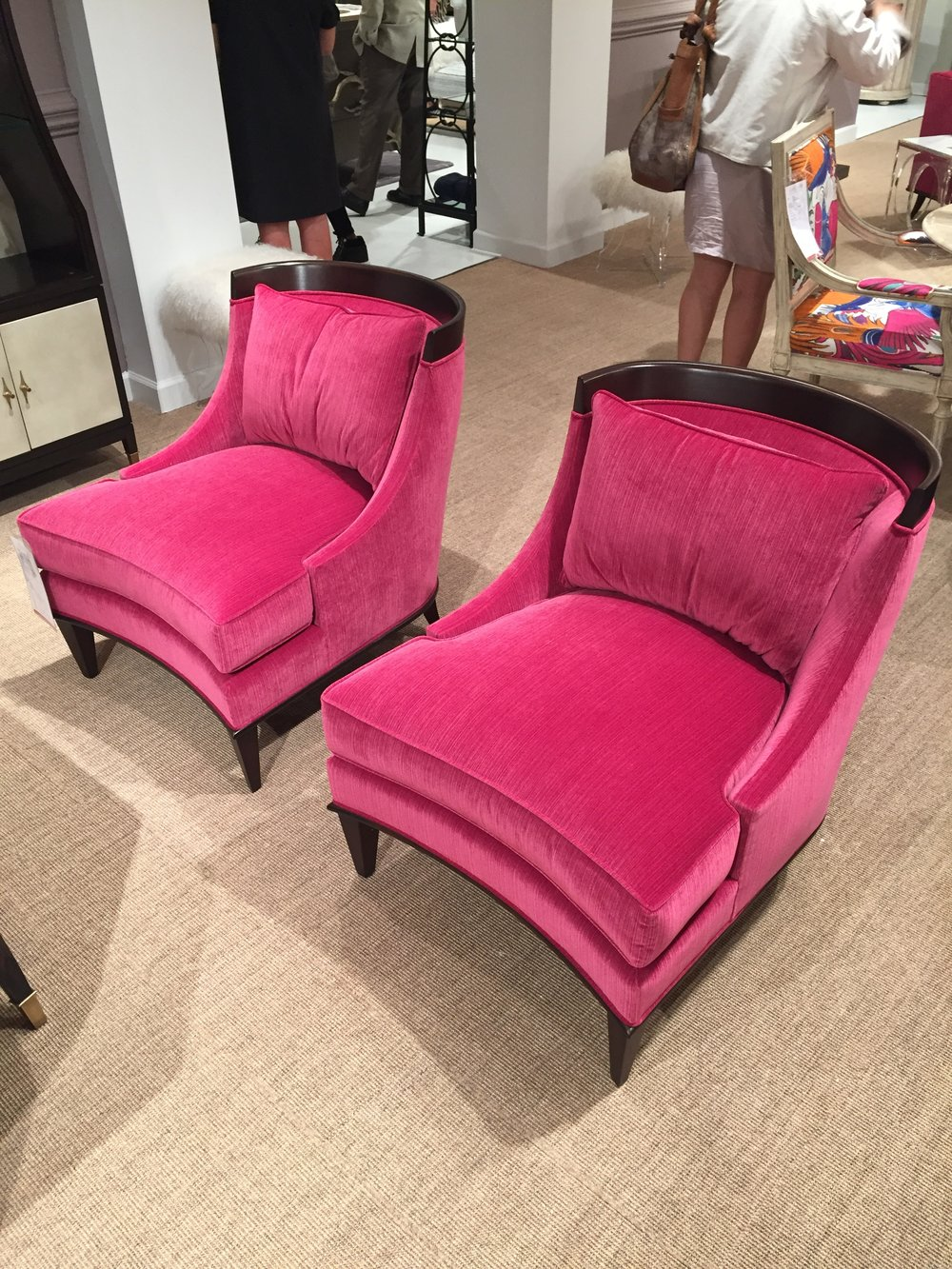 LOVELY CURVES on these pair of arm chairs. Even more comfortable than they look, Ambella Home collection.