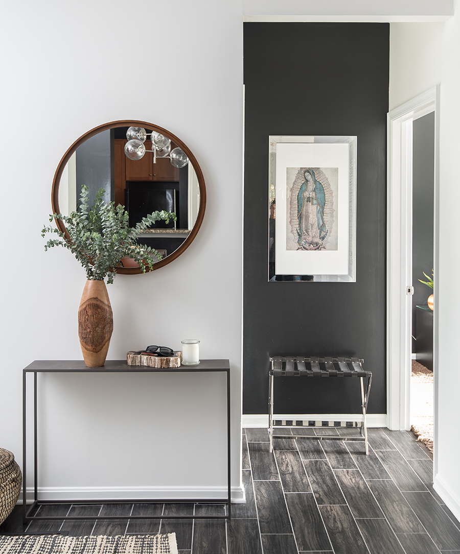 masculine-foyer-black-wall-neutral-decor-mariella-cruzado-splendor-styling-interiors-virgen-de-guadalupe-art.jpg