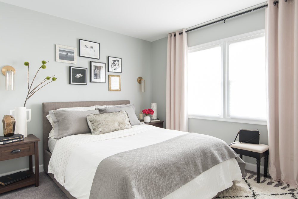 Guest Bedroom Fab Hostess Gray Walls Pink Curtains